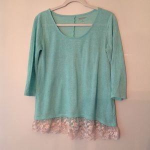 Mint green tunic with lace bottom